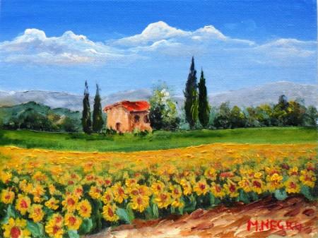 Paesaggio con girasoli | Mario Negro – Pittore